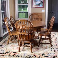 Keller Dining Room Furniture Oak Dining Table And Six Style Chairs By Keller Ebth