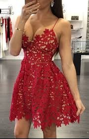 red lace homecoming dress short spaghetti strap party gowns