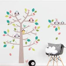 woodland tree and owls wall sticker set by sirface graphics woodland tree and owls wall sticker set