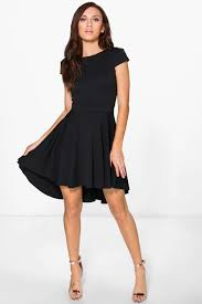 maisie cap sleeve dip hem skater dress boohoo