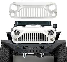 white and black jeep wrangler full white paint angry bird front grill grille grid for jeep