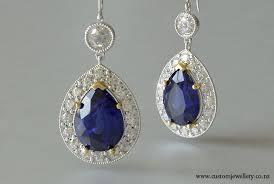 diamond earrings nz pear cut sapphire and diamond halo earrings new zealand