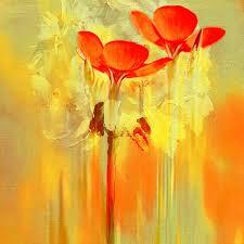 Wohnzimmer Rot Orange Modernes ölgemälde Abstrakt Modern Abstrakt Gelb Rot Floral