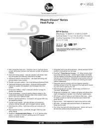 rheem rp14 specification sheet