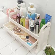 Plastic Bathroom Storage 2 Layers Toilet Bathroom Storage Rack For Shower Gel Shoo