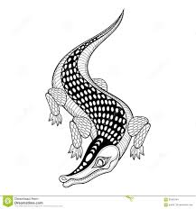 hand drawn ethnic zentangle crocodile for coloring pages