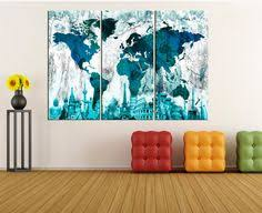 5 panel ready to hang world map canvas print wall art extra large