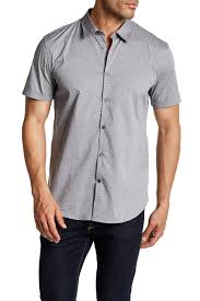 john varvatos star usa cuffed short sleeve slim fit shirt