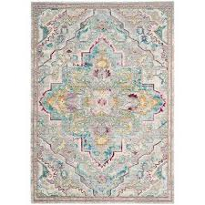 Blue And Grey Area Rug Medallion 9 X 12 Area Rugs Rugs The Home Depot