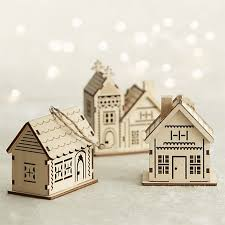 set of 3 laser cut wood house ornaments in view all ornaments