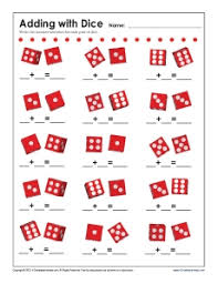 addition with dice math worksheets