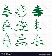 christmas trees sketch set royalty free vector image