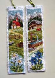 vervaco cross stitch bookmarks alpine chalets segnalibri punto