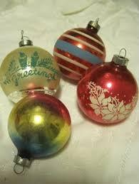 4 vintage glass tree ornaments shiny brite