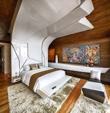 contemporary bedroom thick rug art iniala beach house in phuket