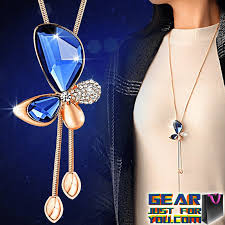 butterfly long chain necklace images Elegant bowknot pattern women 39 s butterfly crystal long chain png