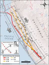 San Andreas Fault Line Map Using Surface Creep Rate To Infer Fraction Locked For Sections Of