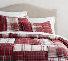 Patchwork Comforter Easton Plaid Patchwork Quilt U0026 Shams Pottery Barn