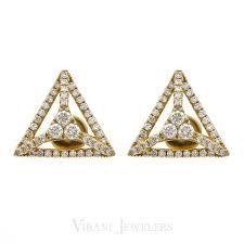 diamond studded minimalist 0 36 ct diamond studded triangle earrings set in 18k