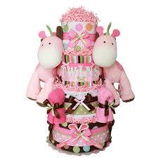 twin girls jungle giraffes diaper cake 189 00 diaper cakes
