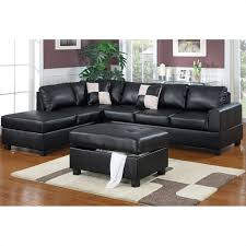 Soft Sectional Sofa Poundex Bobkona Hampshire 3 Piece Sectional In Black F7355