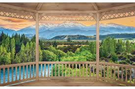 mural wooden terrace nature view wallpapers mural wooden terrace nature view