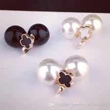 earrings brand 2017 four leaf clover pearl earrings sided stud earrings