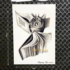 vintage harry potter temporary tattoo owl wings magic book flash