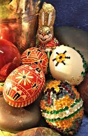 wax easter egg decorating easter still with eggs and stones stock photo image