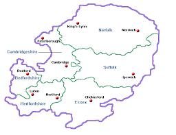 map of east uk east accommodation