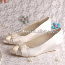 wedding shoes low wedges 15 colors peep toe low wedge heel wedding shoes bridal bow view