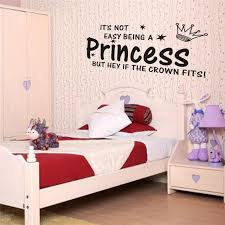 Girls Bedroom Wall Quotes Princess Crown Quotes Wall Stickers Home Decorations For Living