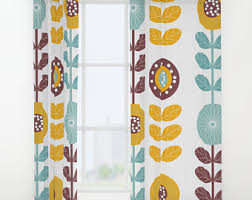 Retro Curtains Vintage Curtains Blue Curtains Floral Curtains Retro