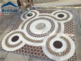 white and beige marble medallion tiles mixed color marble tiles