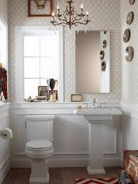 bathroom white kohler sinks plus double faucet and a mirror for