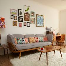Traditional Decorating Ideas Retro Living Room With Pretty Prints Retro Living Rooms
