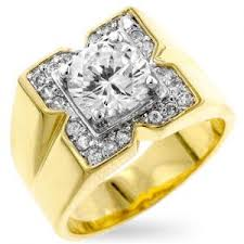 mens gold diamond rings men s square 14k yellow gold bonded 2 75ct simulated diamond ring
