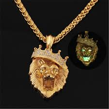 animal gold necklace images Sedmart glow in the dark crown lion tiger pendant necklaces gold jpg