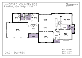 Side Garage Floor Plans by Langford Countryside Allworth Homes Suits Acreage Lots Or