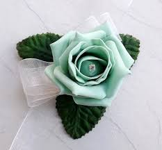 mint green corsage mint green diamante wrist corsage wedding corsages posie
