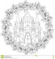 relaxing coloring page with fairy castle in forest wreath for kids