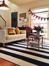 Black Living Room Rugs Black And White Striped Rug Living Room Eclectic With Artwall