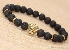 beaded bracelet charms images Lava rock beads bracelet gold silver lion charm bracelet fashion jpg