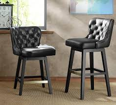Black Swivel Bar Stool Tufted Leather Swivel Barstool In Black