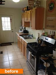 Galley Kitchen Makeovers Before And After Before And After A Dark Dated Galley Kitchen Gets A Modern