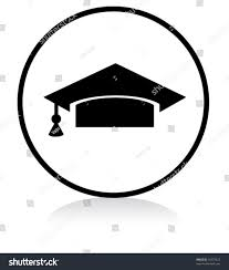 graduation sign illuminated sign white version graduation symbol stock vector