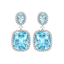 dimond drop blue topaz and diamond drop earrings in white gold