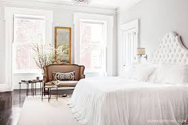 white tufted headboard transitional bedroom domaine home