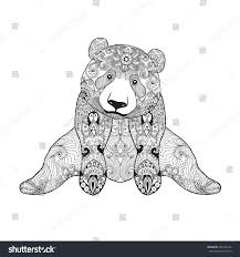 cute panda bear black white hand stock vector 336745190 shutterstock