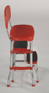 Painted Metal Vintage Cosco High Chair Amazon Com Cosco Retro Counter Chair Step Stool Red Home
